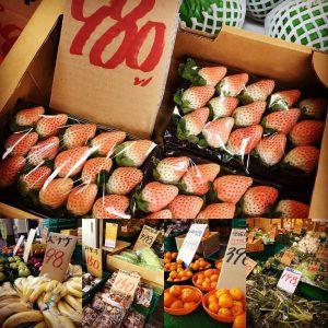 横浜中央卸売市場横のぴこちゃん白いいちご