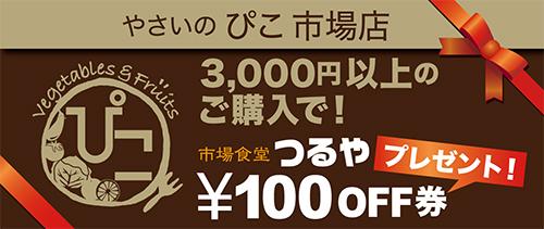 3,000円以上のご購入で市場食堂つるや100円OFF券プレゼント!